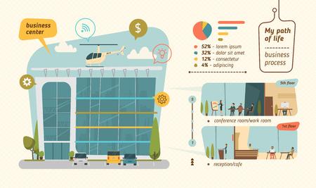 construccion: Centro de negocios ilustración vectorial. estilo plano infografía