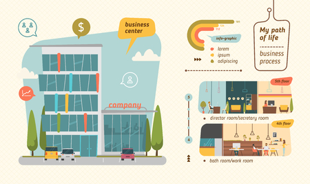 big cartoon: Business center vector illustration. Infographic flat style