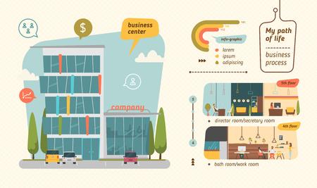 arboles de caricatura: Centro de negocios ilustración vectorial. estilo plano infografía