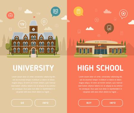 University building and high school building vector illustration Stock Illustratie