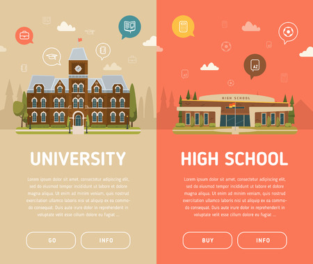 University building and high school building vector illustration Çizim