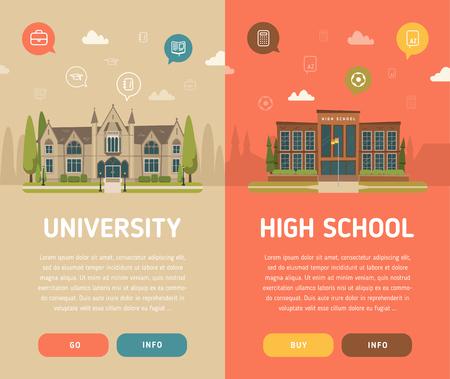 Illustrazione di vettore dell'edificio universitario e della High School