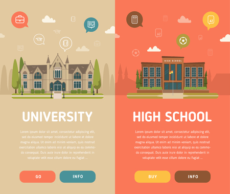 university building: University building and high school building vector illustration Illustration