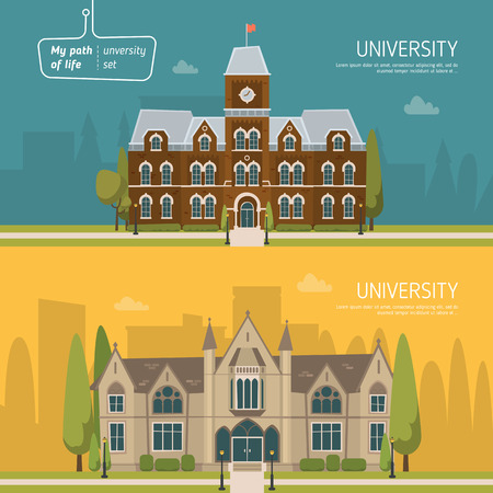 college students: University building set. Illustration
