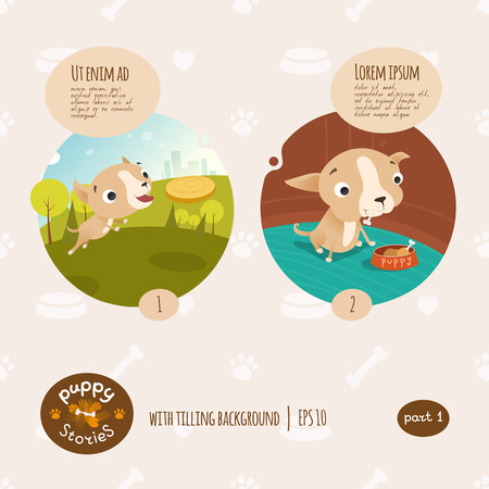 obedient: Vector puppy stories illustration Cartoon style.
