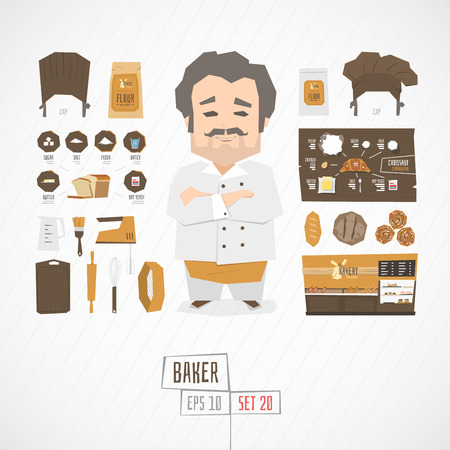 Flat funny charatcer baker set with icons and infographic