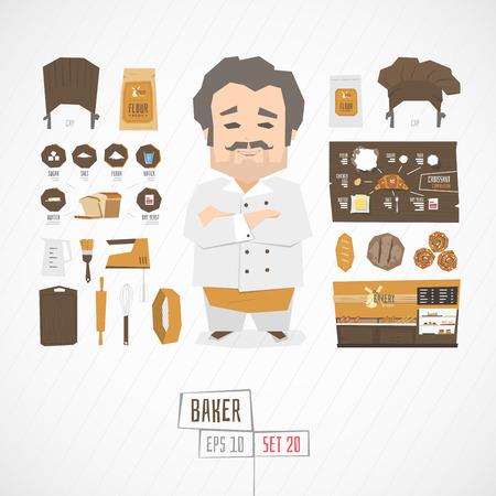 Płaski śmieszne charatcer piekarz zestaw z ikonami i infographic Ilustracje wektorowe