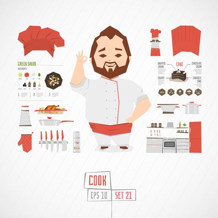 cocina caricatura: Piso negocios divertido charatcer establecer con los iconos y infograf�a