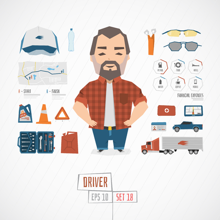 Flat funny charatcer driver set with icons and infographic