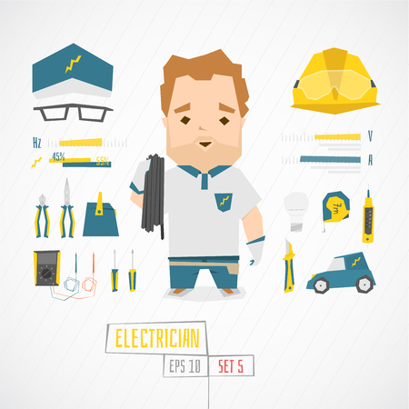 stubble: Flat funny charatcer electrician set with icons and infographic