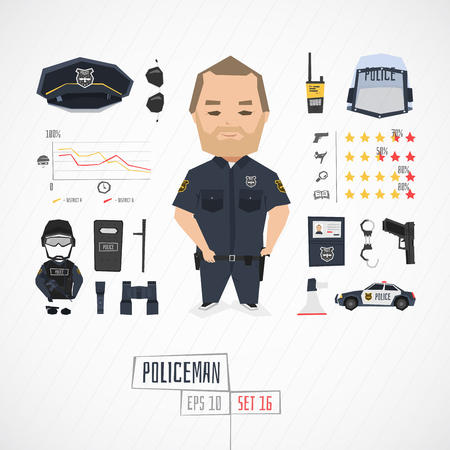 caps: Flat funny charatcer policeman set with icons and infographic