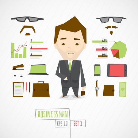 stubble: Flat funny charatcer businessman set with icons and infographic