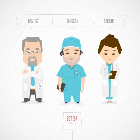 dental assistant: Professions characters collection. Cartoon flat design. Funny art