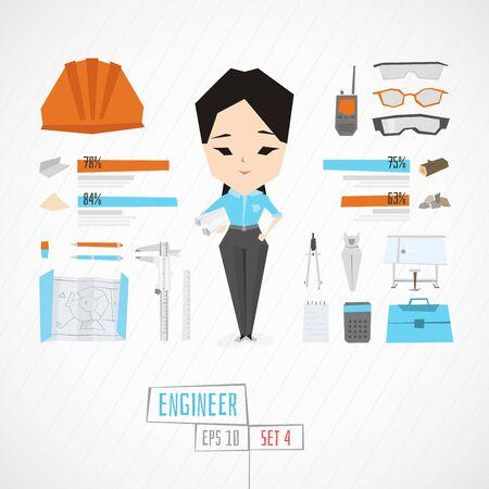 arquitecto caricatura: Piso divertidos del ingeniero charatcer establecer con los iconos y infografía