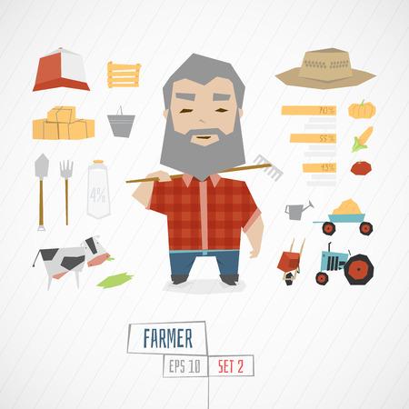 agricultor: carácter divertido agricultor con iconos y algunos elementos Vectores