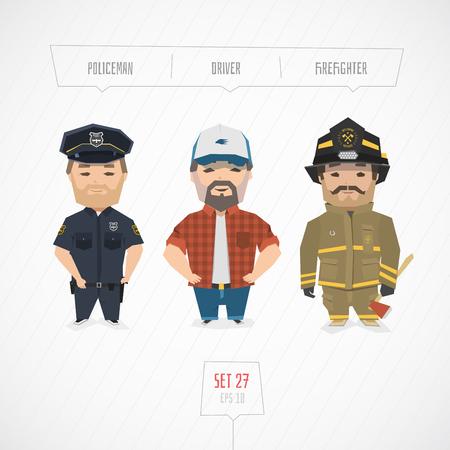 bombera: Profesiones colección de caracteres. Dibujos animados diseño plano. arte divertido