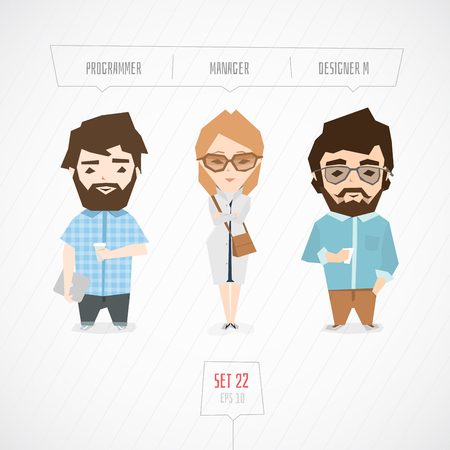 programmer: Professions characters collection. Cartoon flat design. Funny art