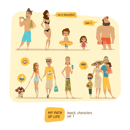 Summer characters collection with icons and bubbles. Çizim