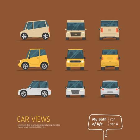 漫画の茶色の背景にビュー車コレクション。フラットなデザイン