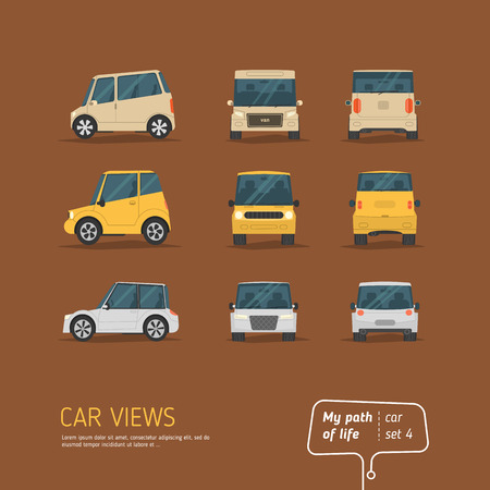 Cartoon views car collection on brown background. Flat design