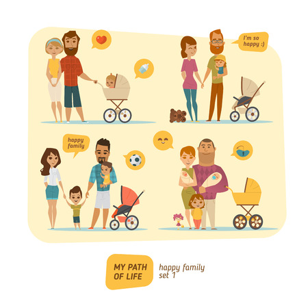 Family infographic with elements and characters. People collection