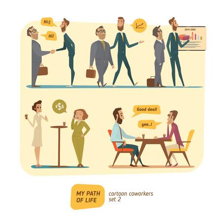 chair cartoon: Business persons in deals. Work in progress