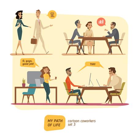 coworkers: Business persons in deals. Work in progress