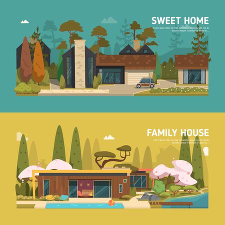 buisson: Deux maisons familiales et appartements bannières sur l'arrière-plan