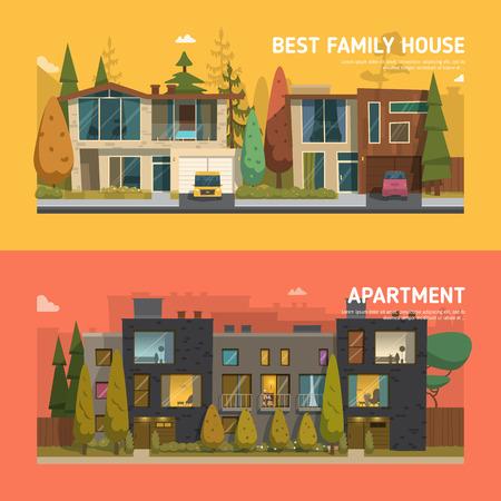 Dwa domy mieszkalne i banery na tle