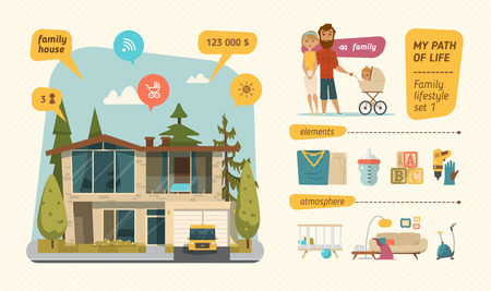 Family lifestyle infographic. Characters design with family elements 向量圖像