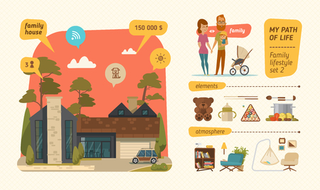 billiards room: Family lifestyle infographic. Characters design with family elements Illustration
