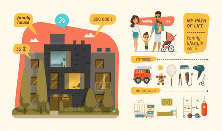 Family lifestyle infographic. Characters design with family elements Illusztráció