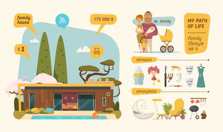 Family lifestyle infographic. Characters design with family elements Çizim