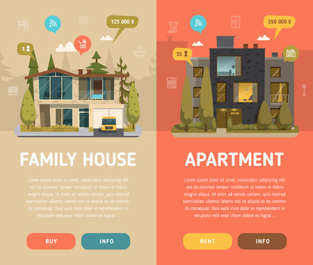 apartment       buildings: Two  architecture banners with buttons. Flat design
