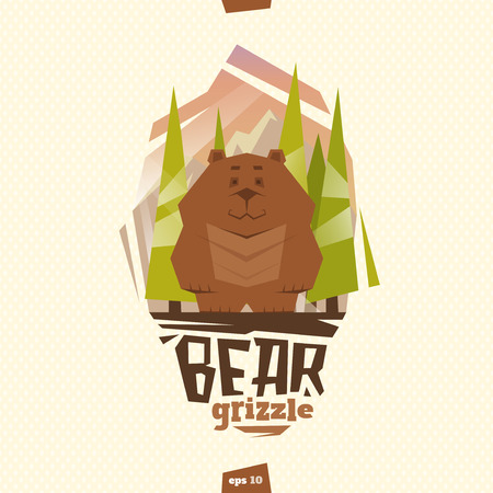 territorial: Bear grizzle illustration in flat cartoon style