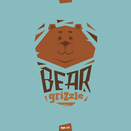 grizzle: Bear grizzle illustration in flat cartoon style
