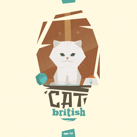 interesting: British white cat  in kitchen before eating illustration Illustration