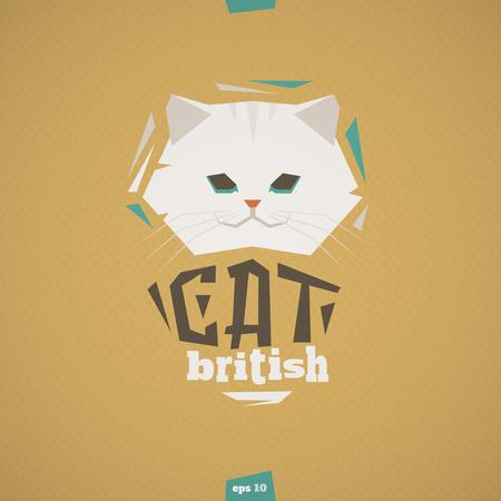 pet cat: British white cat head illustration. Happy pet.