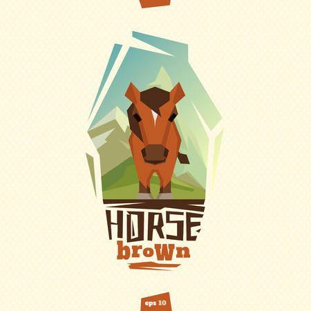 brown horse: Brown horse outdoor illustration. In mountain. Illustration