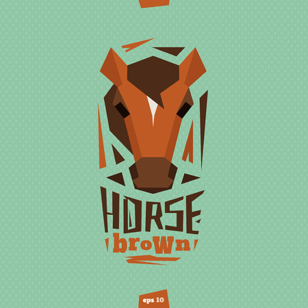 brown horse: Brown horse head illustration. Abstract style. Illustration