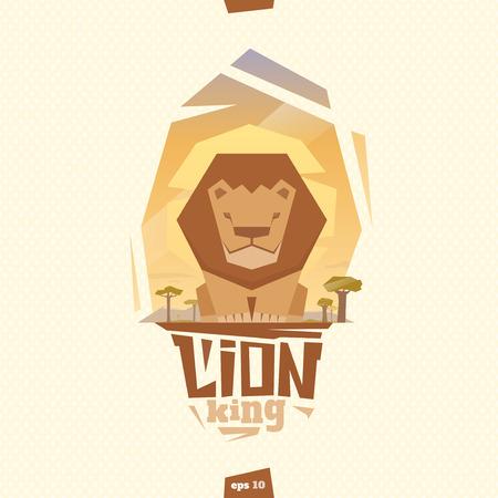 Lion king illustration. Front view. Flat style Illustration