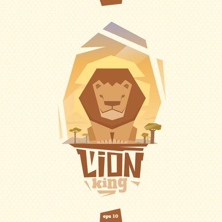 Lion king illustration. Front view. Flat style
