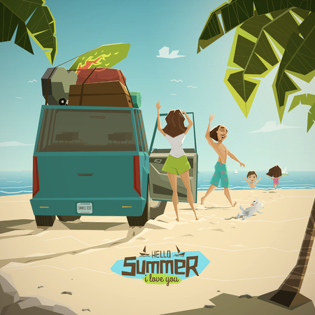 funny surfer: Characters on the beach. Happy family with lovely dog
