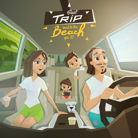 drive car: Happy family in road to sea.