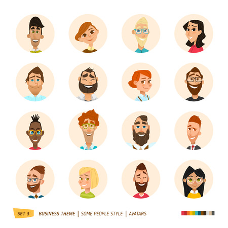 caras: la gente de negocios de dibujos animados avatares conjunto. 10 EPS