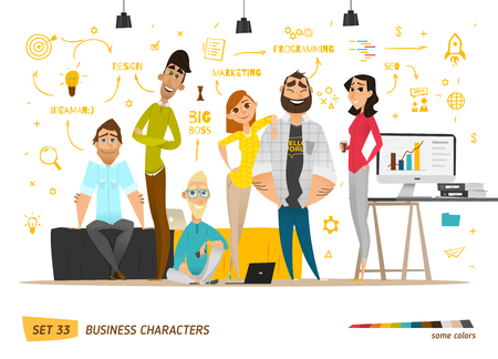 cartoon character: Business characters scene. Teamwork in modern business office