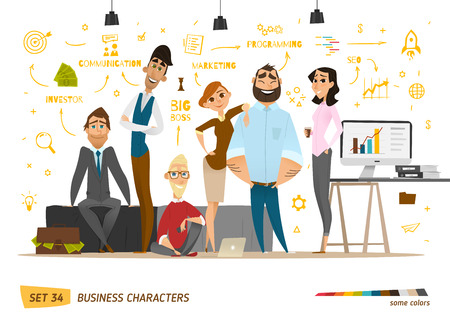 trabajo oficina: escena personajes de negocio. El trabajo en equipo en la oficina de negocios moderno