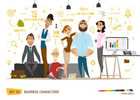 znaków sceny gospodarczej. Praca zespołowa w nowoczesnym biurze firmy