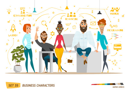 character: Business characters scene. Teamwork in modern business office