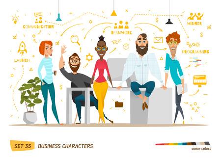personnage: personnages d'affaires sc�ne. Le travail d'�quipe dans le bureau d'affaires moderne